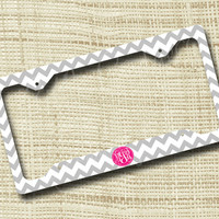 Custom Personalized License Plate Frame, Monogrammed License Plate Frame, Chevron, Light Gray & Pink or ANY colors