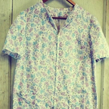 Vintage 60s 70s Retro Purple White Cotton Sun Dress Floral Shift Day Shirt Dress Large House Dress Country Folk Indie Boho Hippie Nightgown