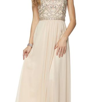 Juliet 609 A Line Chiffon Floor Length Formal Gown Champagne Cut Out Back