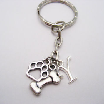 Dog Bone Keychain Dog Initial Paw Keychain Dog Lovers Keychain Personalized Pet Lovers Gift Dog Bone Paw Keychain Customized Dog Person Gift