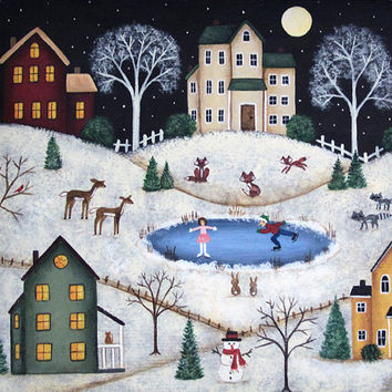 Christmas Folk Art Painting Primitive Wood Tray, Country Village Scene, Saltbox Houses, Deer, Fox, Raccoon, Skating Pond, Snow MADE TO ORDER