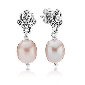 Pandora My Sweet Princess Earrings With Clear Cz And Natural Fresh Water Pearls