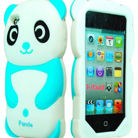 Blue/White Panda 3D Animal Silicone Case Cover for iPod Touch 4th Generation 4G