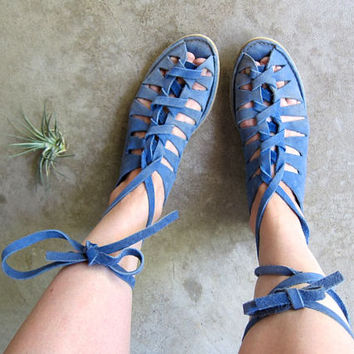 Vintage 70s Blue Suede Moccasins Gladiator Sandals Lace Up Leather Flats Summer Boho Sandals Cut Out Hippie Sandals DELLS Womens 8.5 - 9