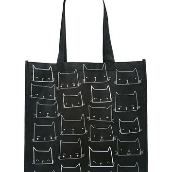 Cat Face Print Eco Tote
