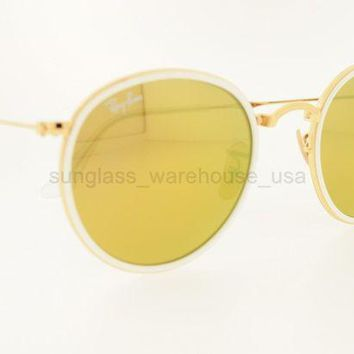 Gotopfashion RAY-BAN RB 3517 001/93 51MM GOLD FRAME MIRROR GOLD LENSES SUNGLASSES