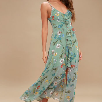 Sienna Sage Green Floral Print Ruffled Maxi Dress