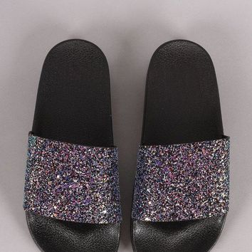 ONETOW Qupid Encrusted Iridescent Glitter Open Toe Slide Sandal