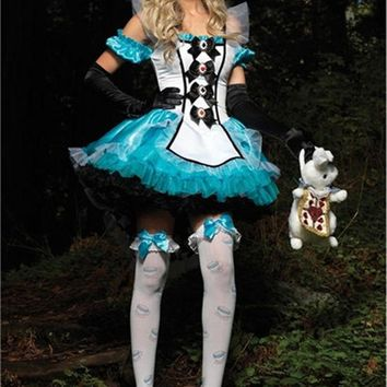 DCCKHY9 Plus Size XL Alice In Wonderland Costume Maid Fantasia Fairy Tale Cosplay Halloween Costumes For Women Adult Dress