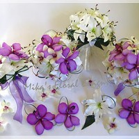 Artificial Wedding Flowers and Bouquets - Australia: White Lilies and Purple Orchids