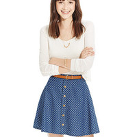 American Rag Printed Button-Front Belted Skirt