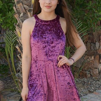 Time Of Love Wine Velvet Halter Skater Dress