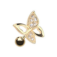 Sparkle Butterfly Gold-Tone Stainless Steel Cartilage Tragus Earring