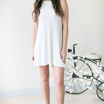 Show Me The Way Ribbed Halter Dress - Ivory