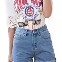 Lady Fashion Button Up Pockets Front Roll-Up Cuffs Jean Shorts