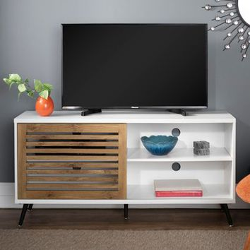 Transitional White with Barnwood Sliding Slat Door TV Stand