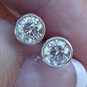 Half Carat Bezel Set Diamond Stud Solitaire Screwback Earrings in 14K Yellow, Rose, or  White Gold