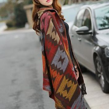 Bohemian Cape Poncho Shawl Scarf Tribal Fringe Hoodies Jacket Ethnic Warm Cardigans For Women 2015 new wool blankets cape shawl