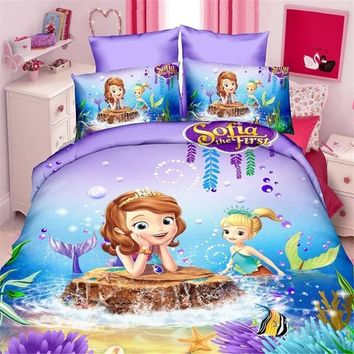 mermaid pokemon bedding set duvet cover bed sheet pillow cases twin single size