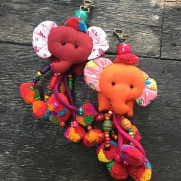 Cute Elephant keychain Tassel pompom chain Colorful Festival Car Hanging Decoration Bag Accessorie Keyring Fabric Handmade doll gift for her