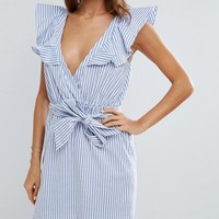ASOS Striped Beach Dress with Structured Frill Shoulder at asos.com
