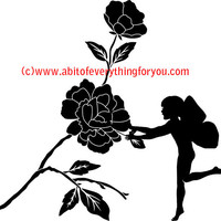 flower rose fairy silhouette printable art print clipart png jpg Digital Download Image graphics crafts living room home decor t shirts card