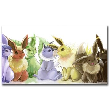 Eevee -  XY Art Silk Poster Print 13x24 24x43inch Pocket Monster Anime Picture for Living Room Wall Decor 089Kawaii Pokemon go  AT_89_9