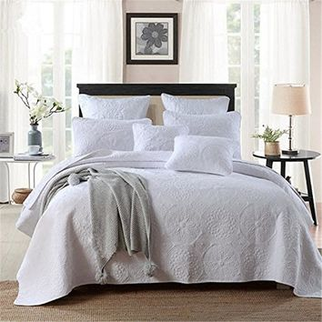 Pure Cotton Luxury. Embroidery Bed Quilted Set. White Bedspread 3pc Bedding Sets.