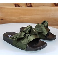 Cape Moria Olive Green Satin Tie Knot Slip-on Flat Sandal Slipper Shoe 5 - 10