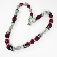 Red Black & Grey Beaded Necklace Signed Hobe', Red Round Faceted Glass Beads, Black Findings, Clear Rhinestone Rondelle Spacers, 1950s Era