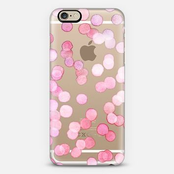 Pink Watercolor Dots on Transparent iPhone 6 case by Micklyn Le Feuvre | Casetify