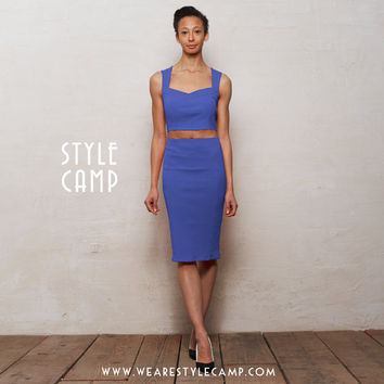 Kirsten Two Piece Bralet and Pencil Skirt Set in Deep Blue
