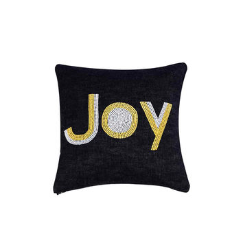 Joy  Hand Embroidered And Beaded Throw Pillow Yellow