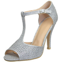 Womens Dress Sandals Rhinestone Studded Glitter High Heel Shoes Silver SZ