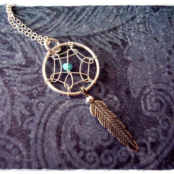 Turquoise Dreamcatcher Necklace - Sterling Silver Dreamcatcher Charm on a Delicate 18 Inch Sterling Silver Cable Chain