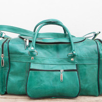 Light Green Leather Duffel Kit Gym Luggage Bag for Women and Mens, Sports Ditty Utility Travel Weekend Leather Bag, Gift for her