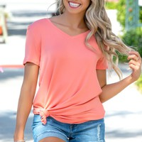 I'm Feeling Good Coral Basic Vneck Top Shop Simply Me Boutique SMB – Simply Me Boutique