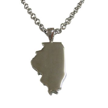 Illinois State Map Shape Pendant Necklace