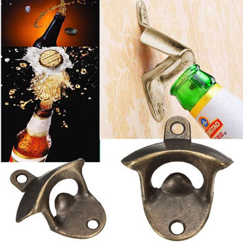 1Pc Vintage Antique Iron Red Kitchen Bar Club Wall Mount Beer Bottle Cap Opener Supply High Quality Hot Sale