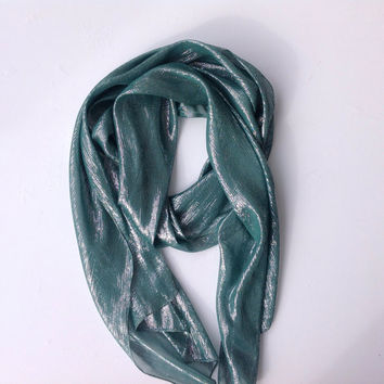 Teal Green scarf, Extra Long Scarf, Holiday gift, Jade Sash, Coworker gift, Teacher, Mom, Sister in law gift, Birthday gift for Mother