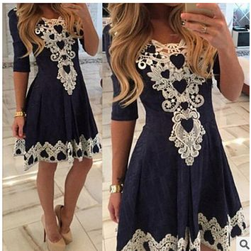 Sexy Lace Flowered Splicing Short Sleeve V-neck Dress