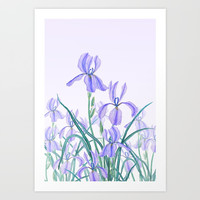 purple iris watercolor Art Print by Color And Color