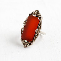 Vintage Art Deco Carnelian & Marcasite Ring- Size 3 1930s Sterling Silver Statement Marquise Jewelry
