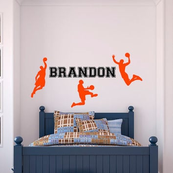 Basketball Wall Decal Sports- Boy Name Wall Decal Personalized Stickers Kids Boys Room Decor Nursery Kids Room Wall Art Home Decor M064