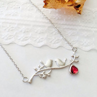 Love Birds Opal Glass Pedant Necklace -Wedding jewelry- Bridesmaid gifts