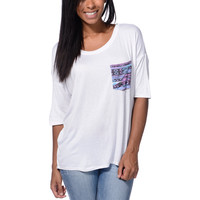 Lunachix Neon Tribal Print White Pocket Tee Shirt at Zumiez : PDP