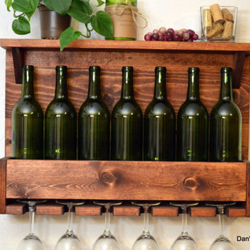 Rustic Wine Rack 7 Bottle 6 Glass Holder Shelf Wall Bar Liquor Cabinet Red Oak Wood