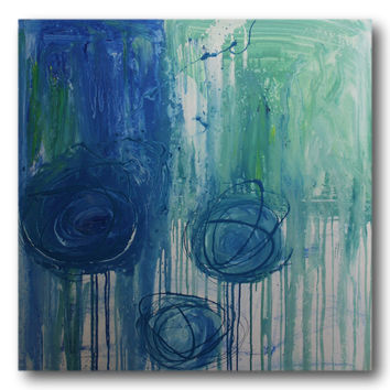 Abstract art canvas painting blue green 100cm x 100cm
