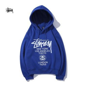 Stussy classic casual versatile double-sided printing plus velvet hoodie