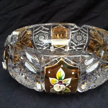 Czech bohemia crystal glass - Cut ashtray 16cm decorated gold